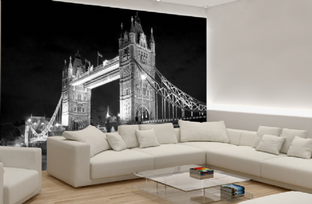 Tower Bridge black & white wallpaper mural